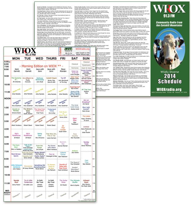 WIOX Summer Schedule